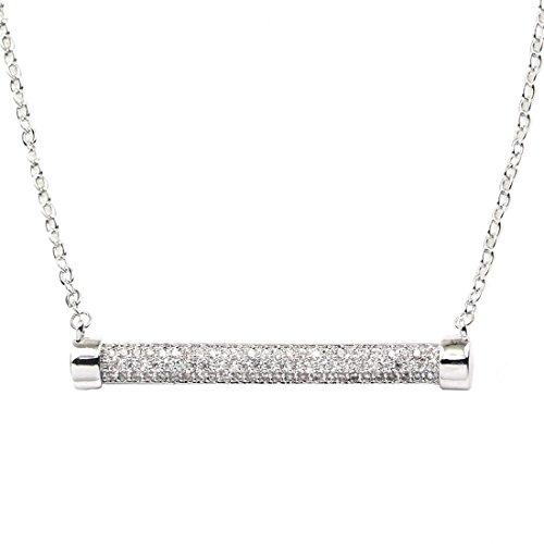 Fancy Collection Or blanc GP CZ Pendentif en cristal Chaîne Clé Barre de collier