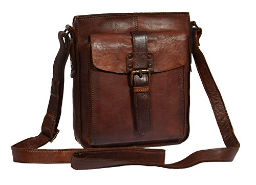 Unisex Crossbody Shoulder Bag Real Antique Leather RUST Brown Zip Top Bag Trump (Brown Top Leather Antique)