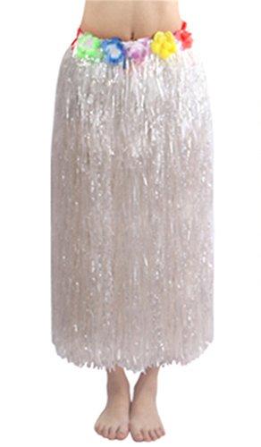 (80cm white Elastic Hawaiian Hula Grass Skirt with Floral)
