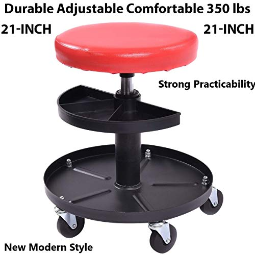 Price comparison product image WINMART Rolling Stool Pneumatic Chair Tray Padded Repair Shop Garage w / 350 lbs Capacity Rolling Stool Pneumatic Chair Tray Padded Repair Shop Garage w / 350 lbs Capacity