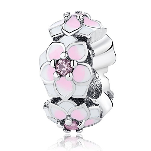 WOSTU Sterling Silver Pink Flower Spacer Bead Charms fit Charms (Pink Silver Charm)