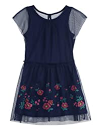 Nautica Toddler Girls Holiday Party Short Sleeve Dress, Naval Blue, 2T