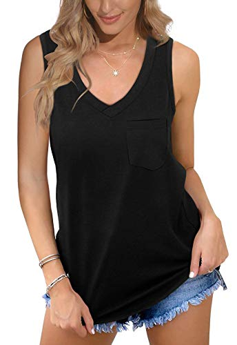 TRAVABEE V Neck Tank Tops for Women Black Casual T Shirts Sleeveless Side Split Loose Fit Summer
