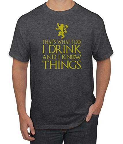 Gold That's What I Do I Drink I Know Things GoT Tyrion | Mens Pop Culture Graphic T-Shirt, Heather Black, Small