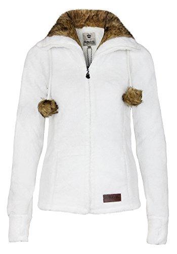fausse Pull large et White polaire montant femme chaud avec veste col pompons fourrure Sublevel col pour TqHwgpnz