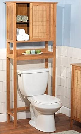 Amazon.com: Natural Bamboo Space Saver Bathroom Storage Space   Towel Shelf  Over Toilet: Kitchen U0026 Dining
