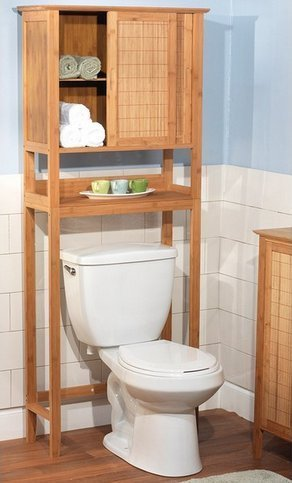 natural bamboo space saver bathroom storage space towel shelf over toilet - Over The Toilet Cabinet