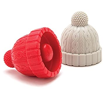 Novelty Cork Replacement mbc426 by Monkey Business Blue//Gray; Red//Gray; See Color Options Beverage and wine Keeper Set of Two Beanie Cap Silicone Bottle Stopper