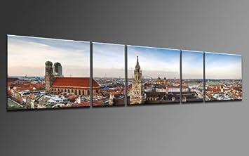 TOP Bild Auf Leinwand Mnchen PANORAMA Marienplatz 5 TEILE DIGITAL Arts AP500268 Bilder Fertig Bespannt