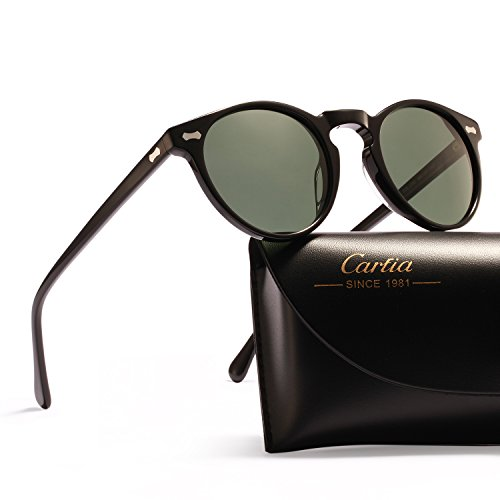 Vintage Round Sunglasses - Carfia Polarized Sunglasses for Women Men, 100% UV400 Protection (Green Lens, Round for Men 48mm)
