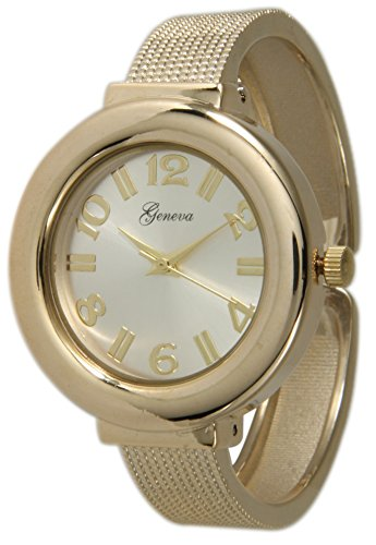Mesh Like Ladies Bangle/Cuff Watch with Sunray Dial (Gold) …