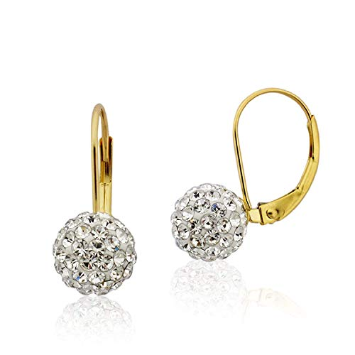 10K Yellow Gold Swarovski Elements Crystal Ball Leverback Earrings