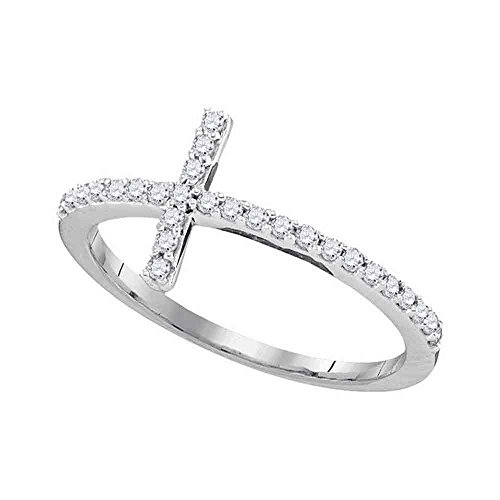- Jewels By Lux 10kt White Gold Womens Round Diamond Christian Cross Religious Band Ring 1/5 Cttw Ring Size 7