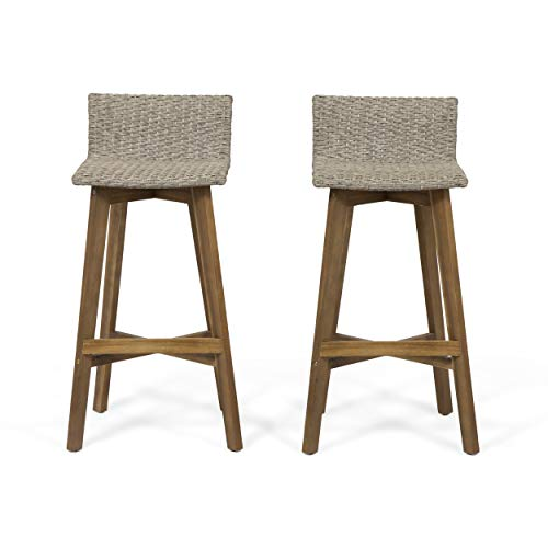 Great Deal Furniture Becky Outdoor Acacia Wood & Wicker Barstools (Set of 2), Light Brown and Teak (Wicker Stools Bar)