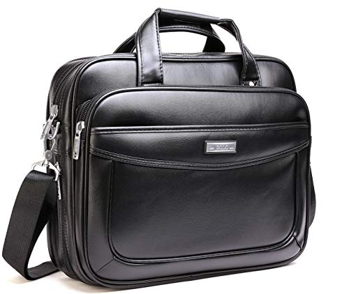 (Leather Laptop Briefcase 16 inch,BOLO ARES Water Resistant Large & Expandable Shoulder Bag Business Handbag Messenger Bag for 15.6 inch Laptop (BLC1-Black))