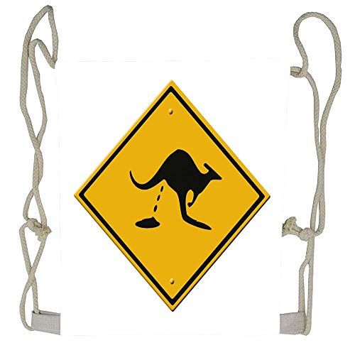 Cellcardphone Kangaroo's shitting road sign Drawstring Backpack Rucksack Shoulder Bags Gym Bag ()
