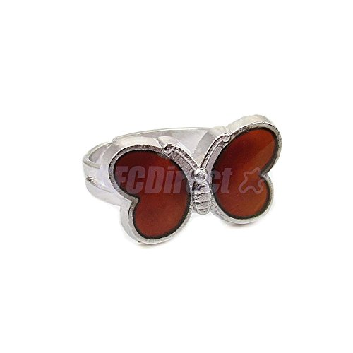 ion Mood Ring Changing Color Magic Adjustable Temperature Control Love Gift (Butterfly Mood Ring)