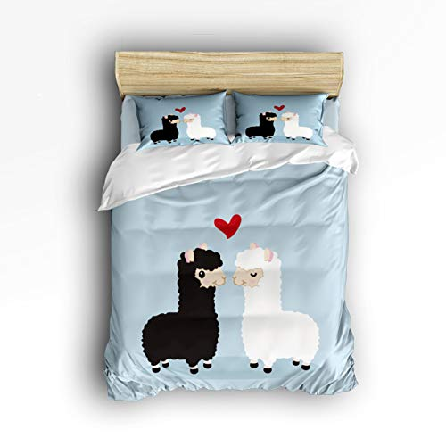 Cloud Dream Home 4 Piece Bedding Set,Cute Cuple Sheeps FunnyDuvet Cover Set Quilt Bedspread for Childrens/Kids/Teens/Adults Queen Size(Large) -