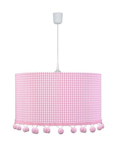 Lámpara de techo con pompón Vichy rosa 1-lámpara de techo ...