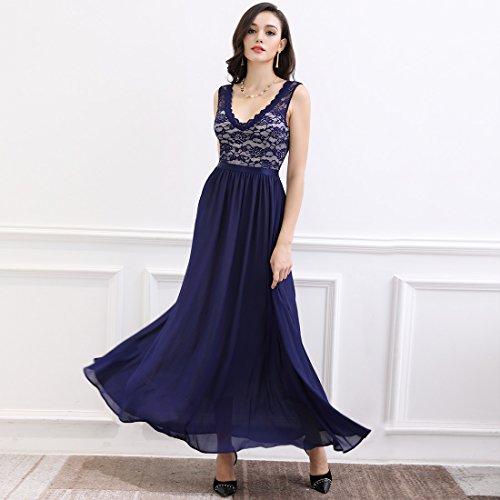 Miusol Damen Elegant Abendkleid Rundhals Schwarze Spitzen Brautjungfer  Cocktailkleid Vintage Cocktailkleid Chiffon Maxi Kleid D- ... a284930050