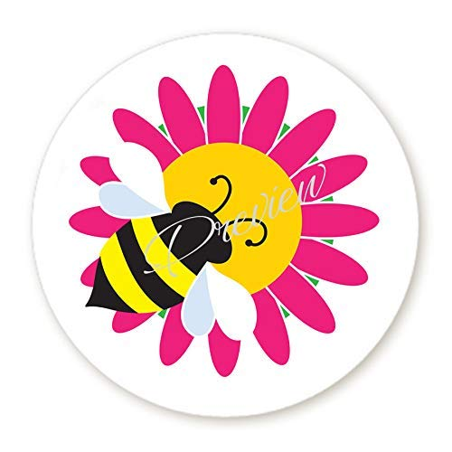 Bumble Bee on Hot Pink Flower Round Labels - Scrapbook Stickers - Envelope Seals - Circle Stickers, 3 Size Choices (Angel Envelope Seals)