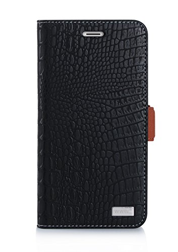 Price comparison product image Moto G5 Plus Case, WWW [Crocodile Pattern] RFID-Resisting Premium PU Leather Wallet Case Flip Phone Case Cover with Card Slots for Moto G5 Plus Black