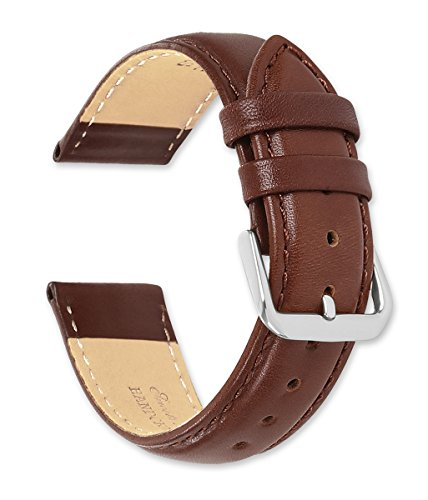 (deBeer brand Smooth Leather Watch Band (Silver & Gold Buckle) - Havana 15mm)