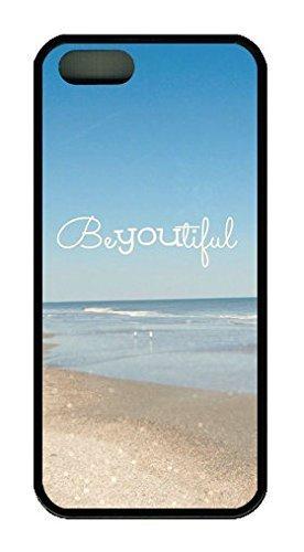 Spiaggia citazione beyoutiful tema per iPhone 5/5S in gomma, colore: nero
