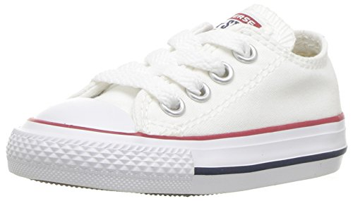 - Converse Kids' Chuck Taylor All Star Canvas Low Top Sneaker, Optical White, 8 M US Toddler
