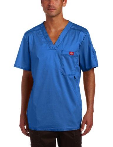 Mens Utility Scrub - Dickies Men's Generation Flex Utility Scrubs V-Neck Shirt, Royal Blue, XX-Large