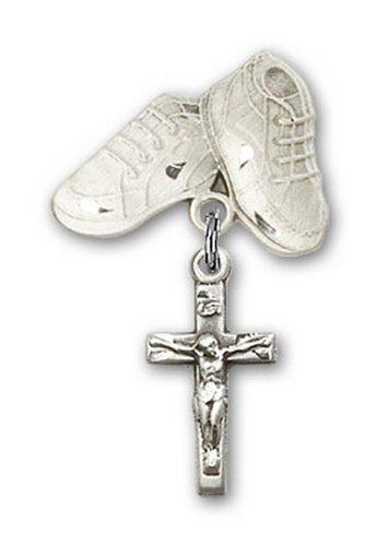 Icecarats Créatrice De Bijoux En Argent Sterling Crucifix Charme Bébé Bottes Broche 1 1/8 X 5/8