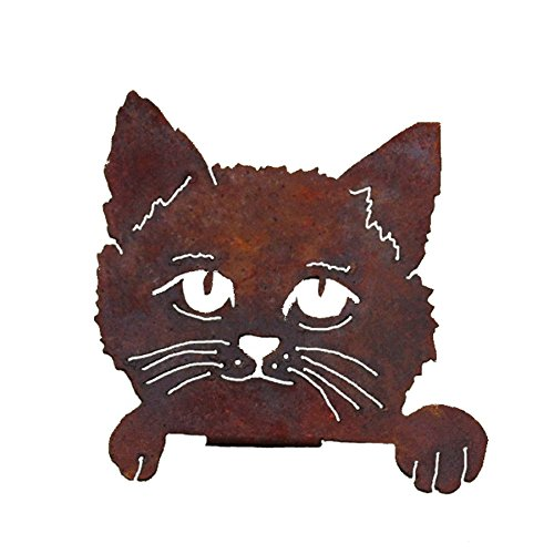(Elegant Garden Design Cat Face, Steel Silhouette with a Rusty Patina)