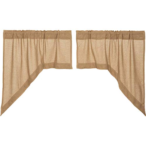 VHC Brands Classic Country Farmhouse Kitchen Window Curtains - Burlap Tan Swag Pair, Natural (Curtain Sham)