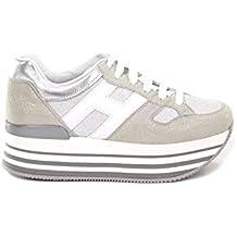 HOGAN Women's HXW2830U352IJI0906 Silver/White Leather Sneakers
