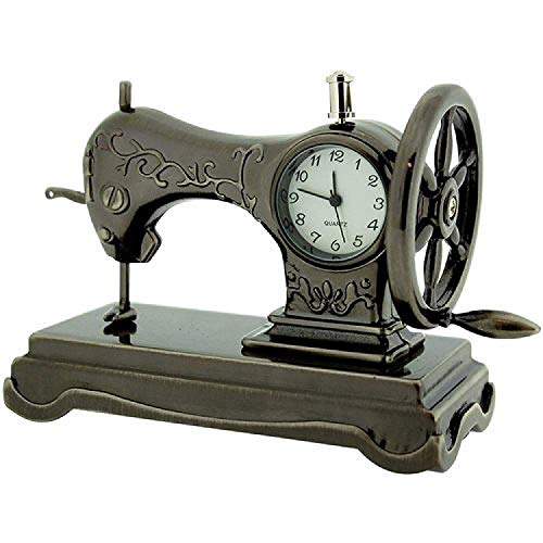 (Miniature Old Fashioned Sewing Machine on Stand Novelty Desktop Collectors Clock)