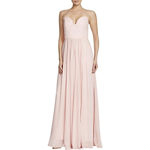 Nicole Miller Womens Pleated Strapless Formal Dress Pink (Nicole Miller Strapless Gown)