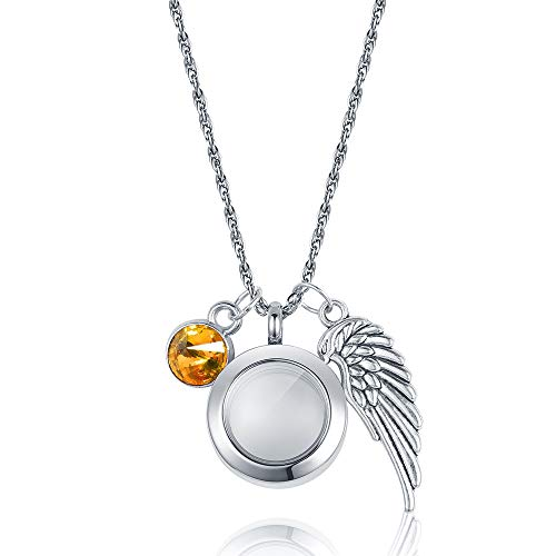 starton Stainless Memorial Glass Locket Pendant - Cremation Jewelry - Ash Necklace - Urn Necklace - Pet Memorial - Vial Necklace - Vial for Hair (nov) ()