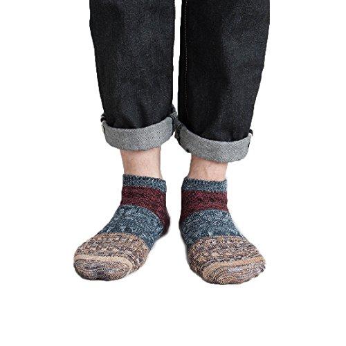 Lissomplume Colore 5 Paors Mens Caviglia Di Sport Del Cotone Calzino Ragazzi Striscia Calzini Equipaggio Maglia Casuale