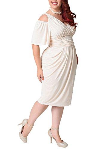 Damen Kleider Grosse Grossen Elegant Sommerkleid Kurzarm Vausschnitt