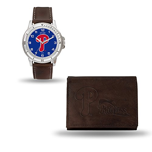 Baseball Phillies Leather Philadelphia (MLB Philadelphia Phillies Men's Watch and Wallet Set, Brown, 7.5 x 4.25 x 2.75-Inch)
