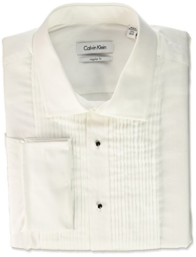 Calvin Klein Men's Big and Tall Regular Fit Tuxedo Spread Collar Dress Shirt, White, 18