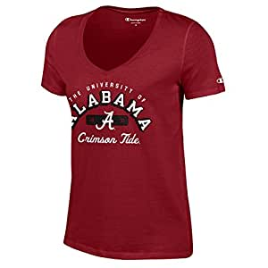 Champion NCAA Women's University Short Sleeve Tagless V-Neck Tee, Womens, NCAA Women's University V-Neck, C5382-1, Cardinal, Medium