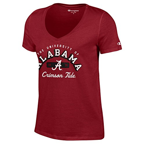 Champion NCAA Women's University Short Sleeve Tagless V-Neck Tee Alabama Crimson Tide Small