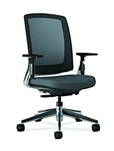HON Lota Office Chair - Mid Back Mesh Desk Chair or Conference Room Chair, Charcoal with Polished Aluminum Frame