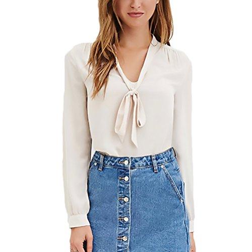 Donna Colore Casual Puro Scollo Camicia Shirt Bowknot Ufficio Primaverili Abbigliamento Lunga V Elegante Top Manica Ragazza Chiffon Beige Blusa Chic Moda pdqd6wF