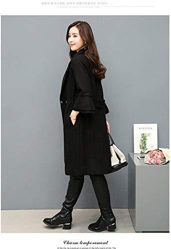Style Spcial Outerwear Mince Loisir Schwarz Unicolore De Manches Trench Femme Automne Transition Elgante Longues Revers Manteau Fashion Trompette Manteau Button vfzaq