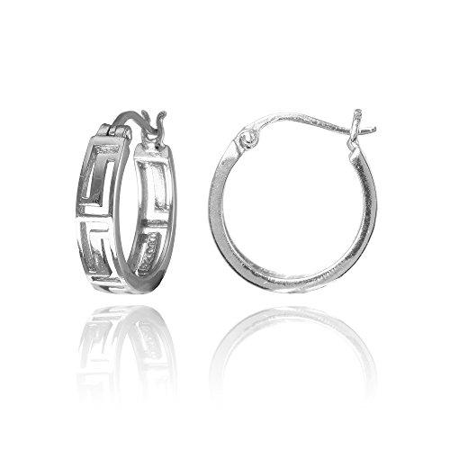 (Sterling Silver Greek Key 15mm Round Hoop Earring)