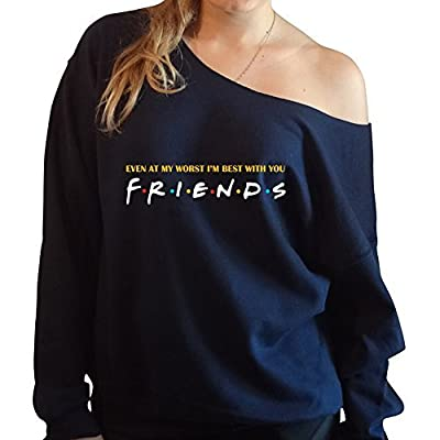 even at my worst i'm best with you F.R.I.E.N.D.S slouchy oversized off the shoulder sweatshirt (Navy)