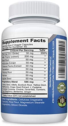 Liver Support 120 Capsules Vegetarian, Non-GMO Gluten Free – All Natural Liver Support with Milk Thistle, Zinc, Turmeric – Vegan