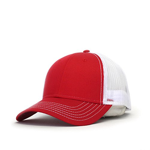 Vintage Year Plain Two Tone Cotton Twill Mesh Adjustable Trucker Baseball Cap (Red/White)